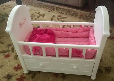 American Girl Bitty Baby Crib with Drawer and Bedding