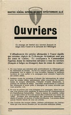 SHAEF leaflet to French workers ~ Ouvriers ~ W.G. 7 F ~ Rare original