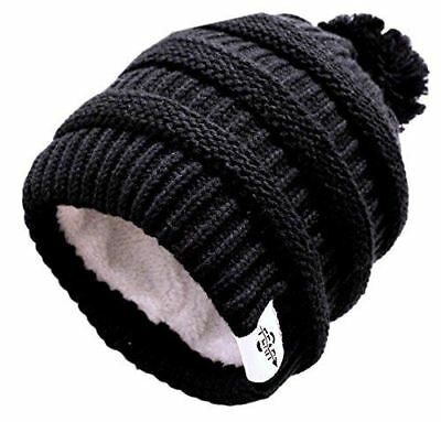 Plush Insulated Extreme Winter White Black Pom Beanie Hat by Fear0 New Jersey