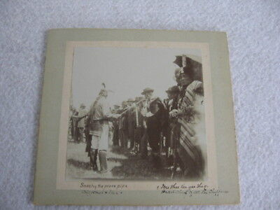 Cull Lake Reservation Smoking The Peace Pipe C.1900 Cabinet Card