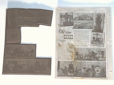 Copper MECHANICAL BANK printing plate for 1938 Andrew Emerine article plus misc.