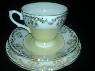 ROYAL SUTHERLAND Yellow /Gold Bone China Cup/Saucer/Plate Trio Set x 1