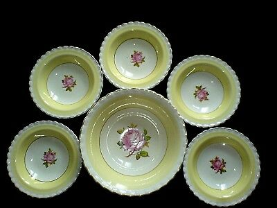 J & G MEAKIN SOL 391413 Pink Rose/Lemon Yellow 1x 8 1/2 in + 5x 6 1/4 in Bowls