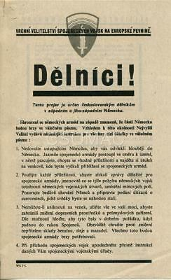 SHAEF leaflet to Czech workers ~ Delnici! ~ W.G. 7 C ~ Rare original