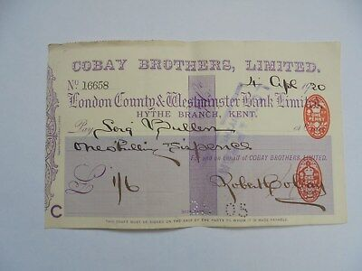 Cheque.Cobay Brothers Ltd.,London County & Westminster Bank Ltd.,Hythe, Kent.