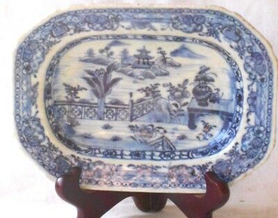 C18Th Chinese Blue And White Serving Dish In Fence And Lake Pattern