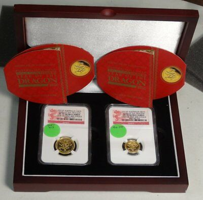 Australia 2012 Year of the Dragon 2-Coin Gold Set, NGC PF-70DCAM, 1/10 + 1/4 OZ