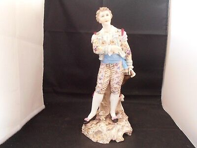 "Rudolstadt Volkstedt Figure German Dresden Thuringia Porcelain ""The Lute Player"""