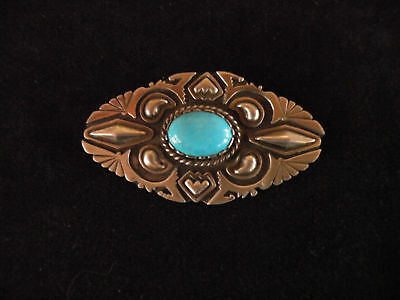 signed hand stamped sterling silver & turquoise heavy large Navajo pin brooch