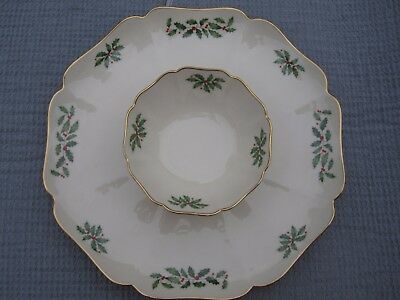"LENOX HOLIDAY DIMENSION 12 1/4"" Chip and Dip Tray/Server Fine China"
