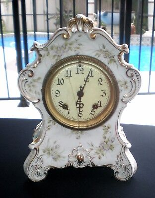 Antique 1895 Silesien German Porcelain Parlor Mantle Clock New Haven Movements