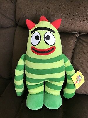 "Yo Gabba Gabba Brobee Stuffed Plush Pillow 20"" Green Stripes Large w/ Tag"