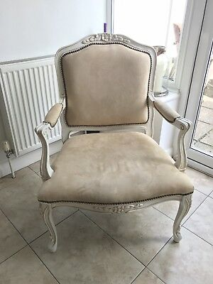 Antique French Style Cream White Arm Chair