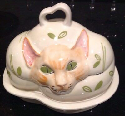 Rare Carlton Ware Lidded Cat Dish Great Quirky Piece