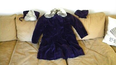 Vintage 1930's Purple Velvet  childs fur lined coat with matching hat and muff.