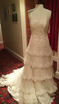 Lace Tiered Ivory Wedding Dress - Size 8 -10 Approx