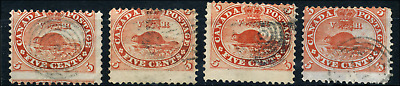 Canada #15 used 1859 First Cents 5c Beaver x4 from Specialized collections