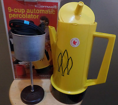 Vintage CORNWALL Yellow 9 Cup Automatic Coffee PERCOLATOR with Original BOX