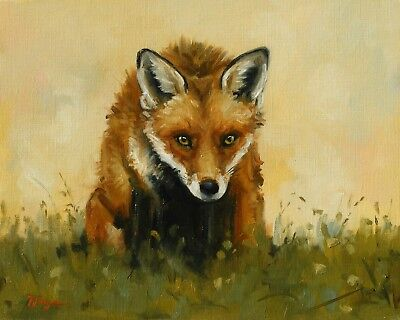 Original animal Oil painting - wildlife art - fox portrait - by j payne
