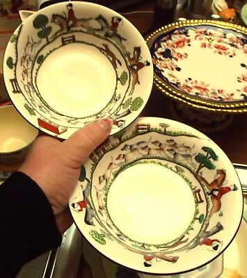 """Pair Vintage Crown Staffordshire Hunting Scene 6"""" CEREAL BOWLS Fox & Hounds"""