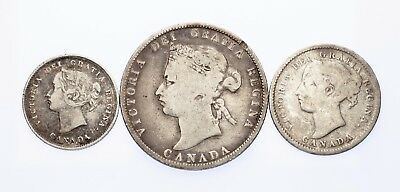 1899 5C, 1888 10C, 1874 25C Silver Canada Lot of 3 Coins (VG-VF Condition)