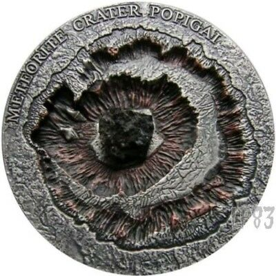 2016 1 Oz Silver POPIGAI CRATER Meteorite, Antique Coin WITH Real Meteorite Rock