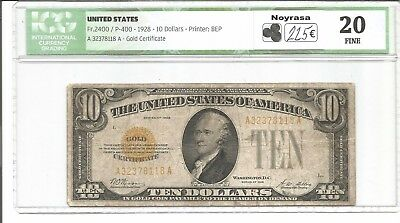 1928 $10 Gold Certificate US Ten Dollars A32378118A Fr#2400