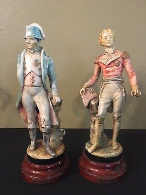 Antique Set Napoleon and Wellington 1900's Cast Metal Spelter Painted Statues