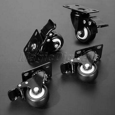"""2"""" High Quality Plate Casters Wheels with Brake For Shopping Carts Hand Trolley"""