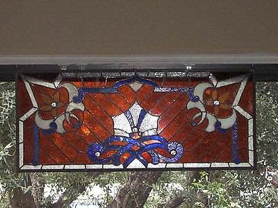 "Stained Glass Leaded Glass Window Panel 18"" X 39"" Handmade"
