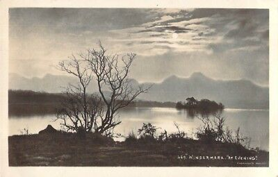 EARLY Vintage REAL PHOTO RP Postcard WINDERMERE AT EVENING LAKE DISTRICT