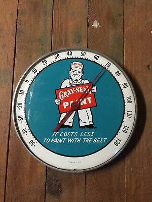 """NICE VINTAGE GRAY SEAL PAINTS 12"""" ROUND THERMOMETER SIGN Sherwin Williams Gas Oi"""