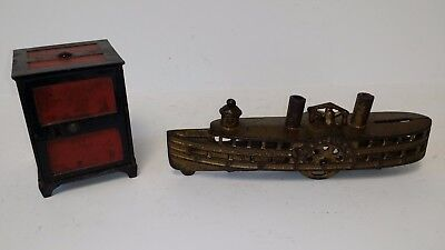 "2 Antique Cast Iron Banks ""Arcade Steamboat"" c1915 & ""Columbia"" c1897"