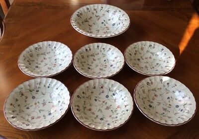 "6 x Staffordshire ""Oakwood"" Cereal Bowls and 1 Fruit Bowl"