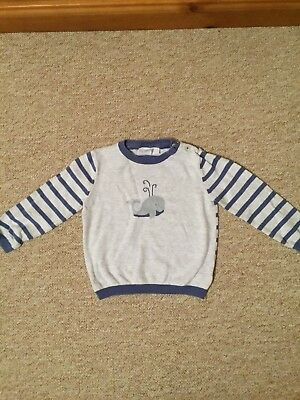 Little White Company Blue & White Striped Jumper Size 12-18 Months Boys