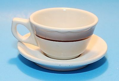 Buffalo China Cup & Saucer, Restaurant Ware, White Brown Bands, Vintage