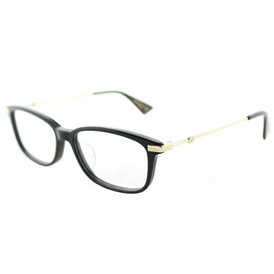 Gucci Asian Fit GG0112OA 001 Black Gold Plastic Rectangle Eyeglasses 53mm