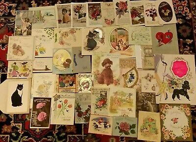 Vintage Christmas and Birthday cards. Beautiful collection. Some unused.