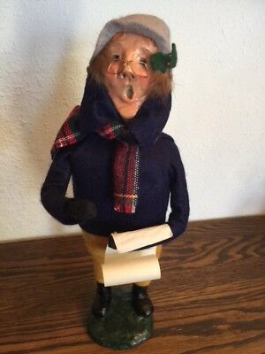 """Byers Choice Vintage """"BESPECTACLED MALE CAROLER W/MUSIC"""", 1980, REAL Bumpy Base!"""