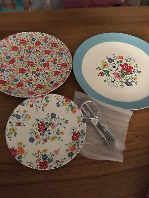 Cath Kidston 3 Tier Cake Stand. China and chrome. Brand new but damaged package