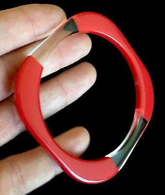 Vintage Cherry Red To Clear Lucite 1960's Bangle Bracelet Size 8