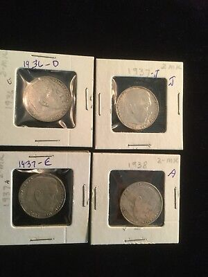 4 Silver 2 Mark Third Reich 1936-1938 You Buy All 4!