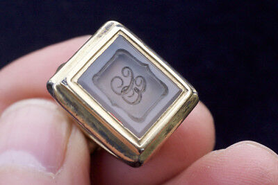 antique seal - gold plated with white agate intaglio with initials EC