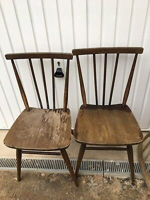 Two Ercol 391 All Purpose Kitchen Chairs Blue Label