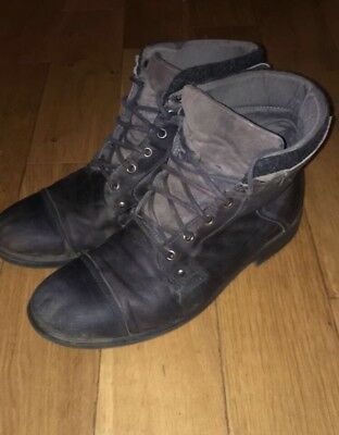 Mens River Island Distressed Look Grey Leather Military Boots - UK Size 10 / 44