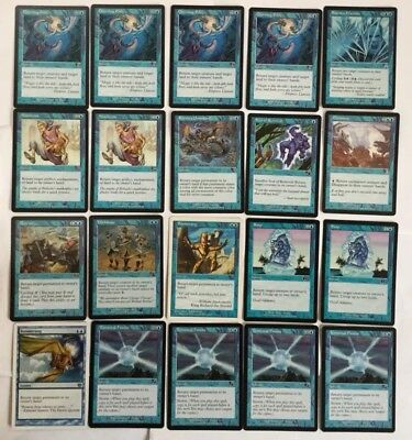 Magic The Gathering - 20 Blue Cards + 2 Artifact - Return Card/control Lot - MTG