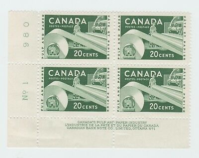 Canada Mint Stamps - LL Block of 4 Plate No. 1 980 - Pulp and Paper 1956 20c