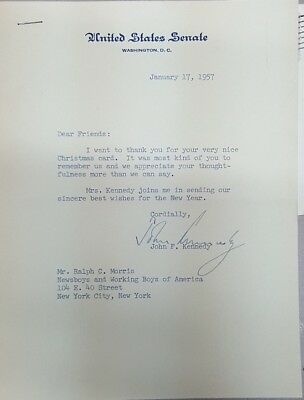 Authentic John F. Kennedy Signed Thank You Letter 1957 JFK Signature (B4F)