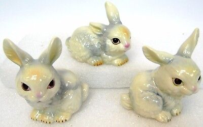 """Vintage Lot of 3 Goebel West Germany White 4"""" Cotton Tail Bunny Rabbit Figurines"""
