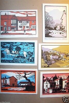 6 WOODBLOCK PRINT CHRISTMAS GREETING CARDS 2 SIGND BY ARTIST AJ BUTSON 1960s 70s